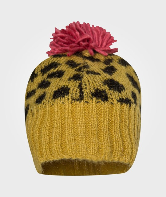 Bobo Choses Knitted Mohair Hat AO Leopard Yellow Yellow