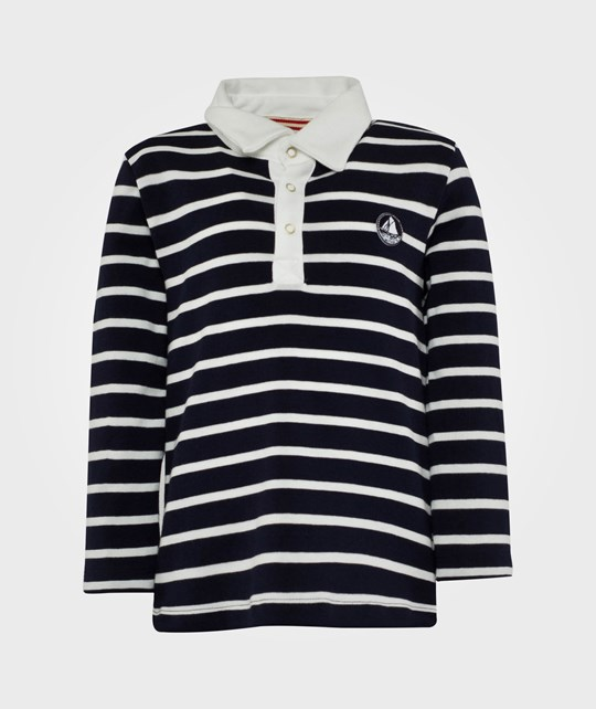Petit Bateau Long Sleeved Sweater w. Collar Blue Blue