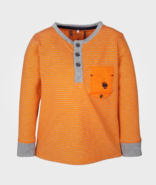Name it Jimmy Mini LS Grandad Top Vibrant Orange Oransje