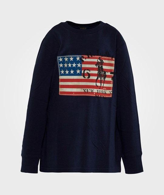Ralph Lauren LS Flag Tee French Navy Blue