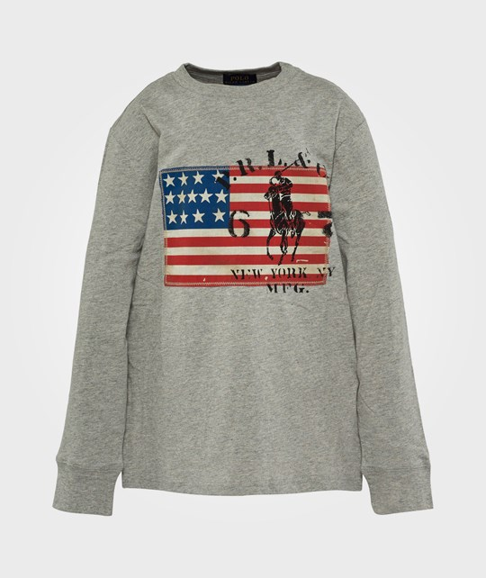 Ralph Lauren LS Flag Tee Dark Sport Heather Grey