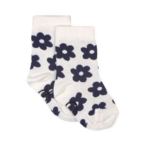 Image of Wynken Daily Ankle Sock - Ecru / Navy Flowers Ecru/Navy 4 år (1833380)