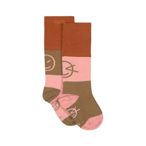 Image of Wynken Block Knee High Sock Burnt Orange Mix 2 år (1833383)