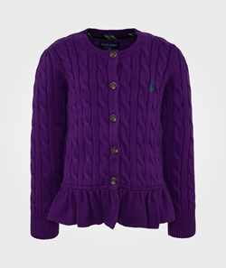 Ralph Lauren LS CN Peplum Cardigan Grand Prix Purple