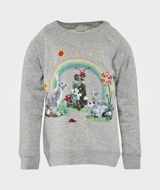 Stella McCartney Kids Betty Rabbit Rainbow Sweat Grey Melange Black