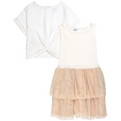 Mayoral 2-piece Tulle Tiered Dress Cream