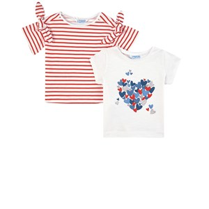 Image of Mayoral 2 Pack of Red Heart Print and Stripe Tee´s 2 år (1841621)