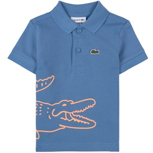 Image of Lacoste Blue Big Croc Logo Pique Polo 1 år (1821201)