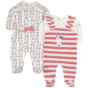 Image of Mayoral 2 Pack of Stripe and Rabbit Babgrows 1-2 mdr (1842750)
