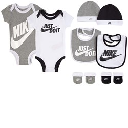 NIKE Grey and White Branded 8 Piece Bodies, Booties, Beanies and Bibs Set
