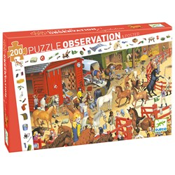 Djeco Observation Puzzle, Horse Riding 200 pcs