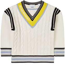 Burberry Logo Jacquard Cable Knit Sweater Cream