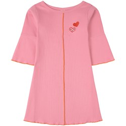 Oii Anette Ribbed Flare Dress Pink