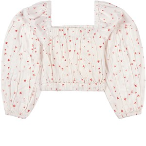 Image of How To Kiss A Frog Heart Print Pufi Crop Top Off white 14 år (1747411)