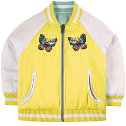 Stella McCartney Kids Reversible Satin Butterfly Patch Bomberjacka Gul