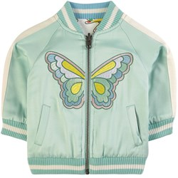 Stella McCartney Kids Satin Butterfly Patch Bomberjacka Grön