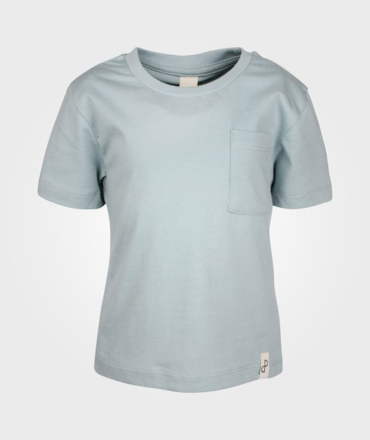 Popupshop Basic Tee w. Pocket Light Blue Melange Blue