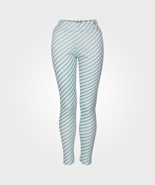 Popupshop Leggings w. Stripes Offwhite/Navy Blue