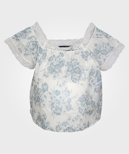 Ralph Lauren Printed Flutter Top White/Blue Multi Blå