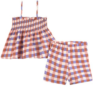 Image of Oeuf Girl Smock Outfit Flamingo Pink/Gingham 2-3 år (1861489)
