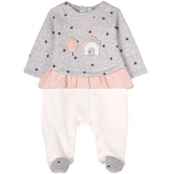 Mayoral House Print Footed Baby Body Gray