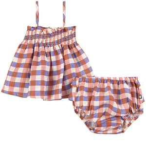 Image of Oeuf Baby Smock Outfit Flamingo Pink/Gingham 12-18 mdr (1861424)