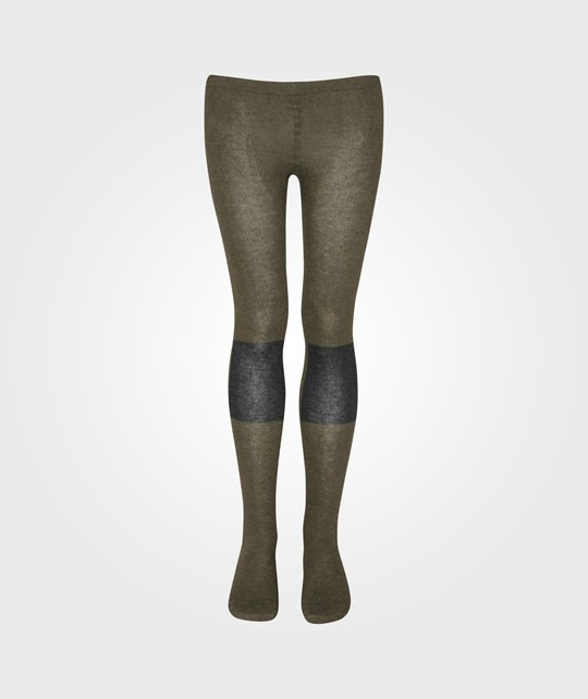 Bobo Choses Tights Patch Knee Contrast Burnt Olive Green