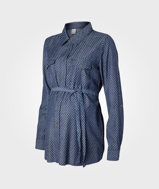 Mamalicious Dot LS Woven Shirt Blue Denim Blue