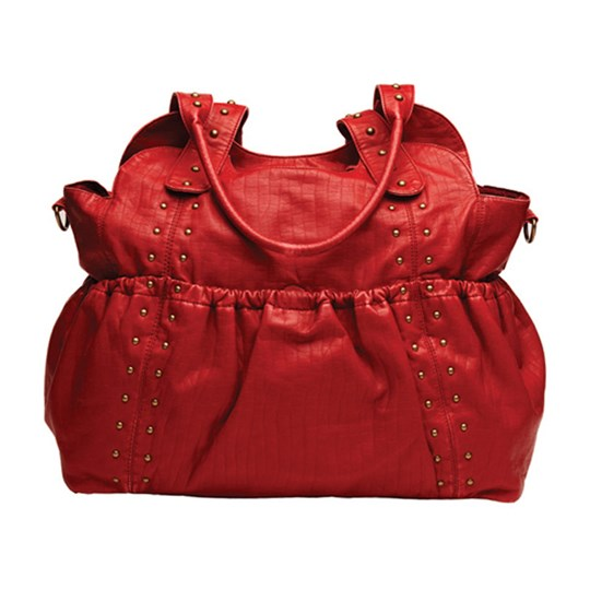 OiOi Ruche Red Tote Leather Red