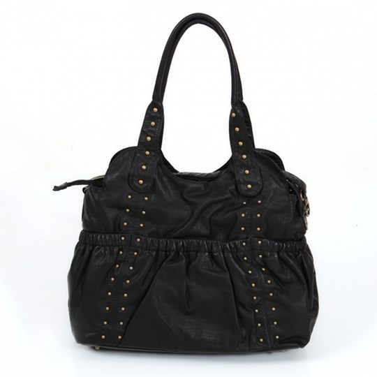 OiOi Ruche Black Tote Leather Sort