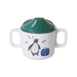 Rice Melamine 2 Handle Baby Cup with Party Animal Print - Green