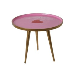 Rice Round Metal Side Table in Pink with Heart - Small - Knock Down