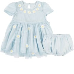 Stella McCartney Kids Embroidered Flowers with Bloomers Dress Blue