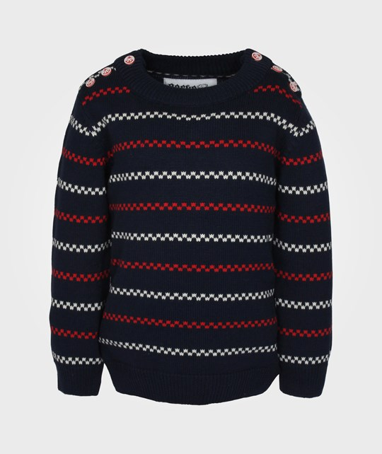 Rockefella Randy Knitted Sweater Blue/White/Red Blue