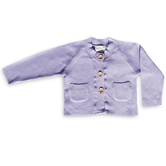 Green Cotton Charleen Knitted Cardigan Lave Purple