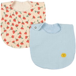 Bobo Choses 2-Pack Face And Flowers Bibs Forever Blue