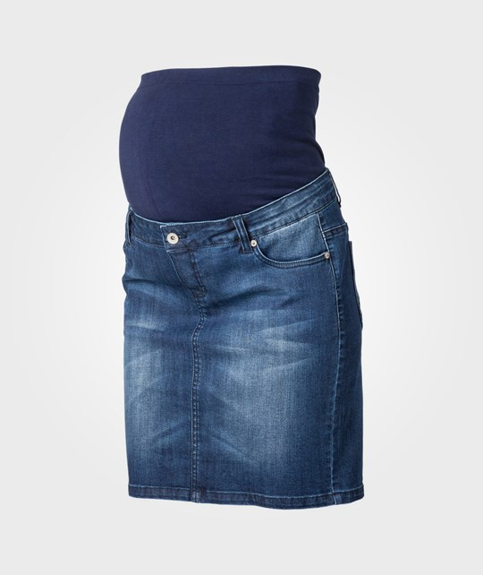 Mamalicious Frey Knee Denim Skirt Blue Blue