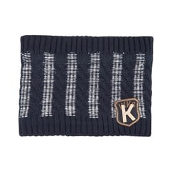 IKKS Striped Cable Knit Tube Scarf Dark Blue