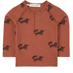 Sproet & Sprout Fox Print T-Shirt Brown