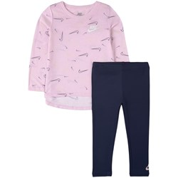 NIKE All Over Swooshfetti T-shirt And Leggings Set Pink