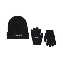 NIKE Just Do It Reflective Beanie And Gloves Set Black