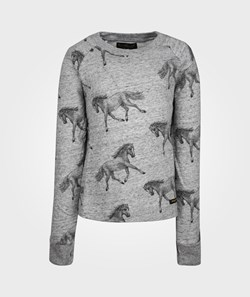 Finger In The Nose Wish Printed Fleece Sweater Grey