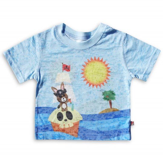 Kids Ink Tee Pirate Bunny Blue