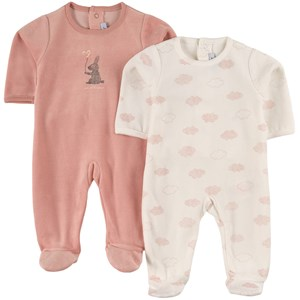 Image of Absorba 2 Pack of Pink Rabbit Print Babygrow 18 mdr (2035280)