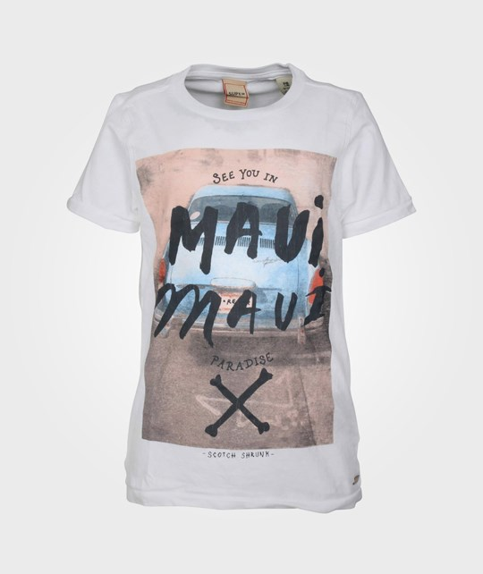 Scotch & Soda Tee With Rock Inspired Artworks White