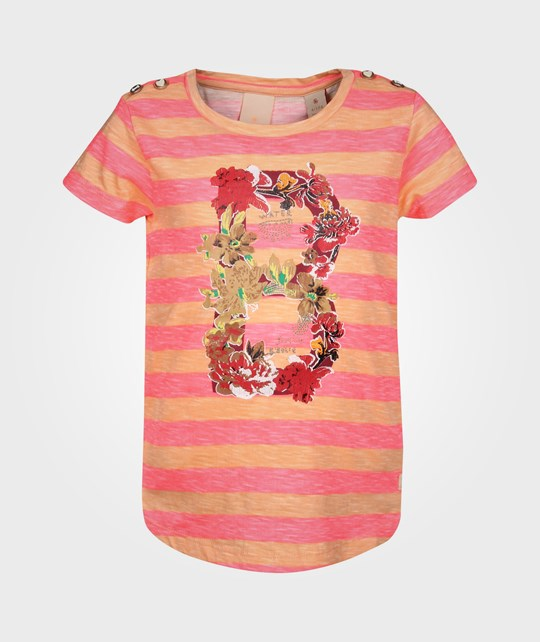 Scotch R'belle Striped Tee Big Letter Artwork Multi