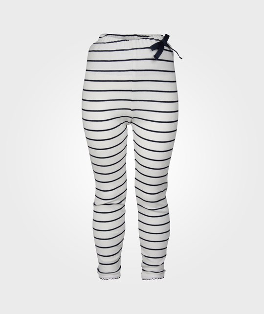 Cotton & Button Leggings Stripe Off White/Navy Blue