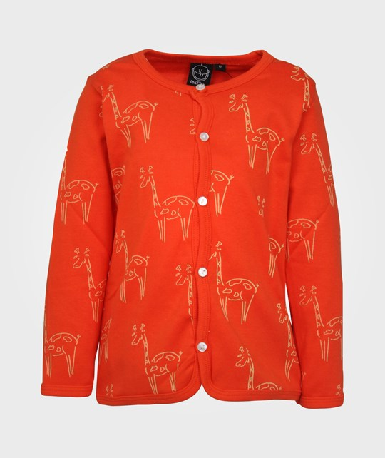 Ida T Cardigan Red Creme Giraffe Red