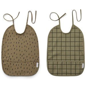 Image of Liewood 2-Pack Lai Bibs Check/Graphic Stroke/Khaki one size (2005197)