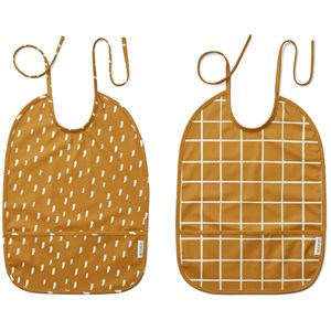 Image of Liewood 2-Pack Lai Bibs Check/Graphic Stroke/Golden Caramel one size (2005198)